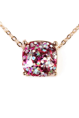 S6-6-4-A16355FUG FUCHSIA GOLD CUSHION CUT GLITTER NECKLACE/6PCS