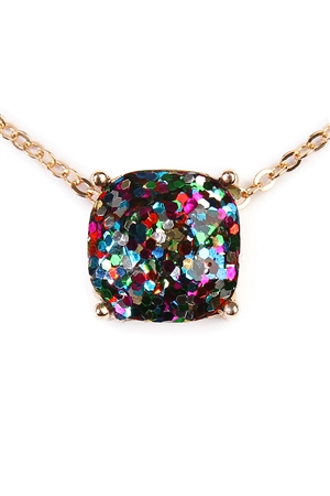 S4-6-3-A16355MUG MULTICOLOR GOLD CUSHION CUT GLITTER NECKLACE/6PCS