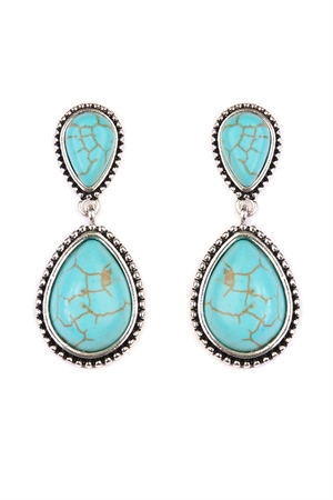 S4-5-2-A25031TQS TURQUOISE TEARDROP DANGLE EARRING/6PAIRS