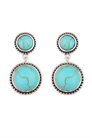 S6-5-4-A25032TQS TURQUOISE ROUND DANGLE EARRING/6PAIRS