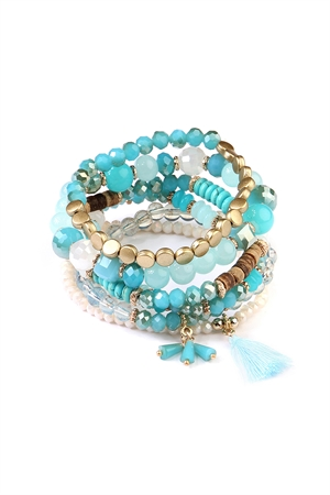 S4-5-4-AAMB2058TQ TURQUOISE BEADS STACK BRACELET/6PCS