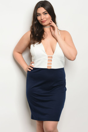 125-2-1-D112372X NAVY IVORY PLUS SIZE DRESS 2-2-2