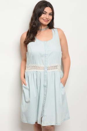 131-4-4-D12517X LIGHT BLUECREAM DENIM CROCHET PLUS SIZE DRESS 1-2-2-1