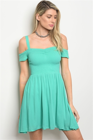 113-4-3-D326 SPEARMINT OFF SHOULDER DRESS 2-2-2