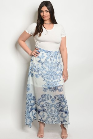 S9-16-3-S82301X OFF WHITE BLUE PLUS SIZE SKIRT 2-2-2