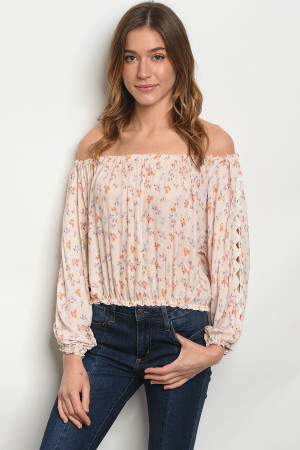 132-3-5-T516 PEACH FLORAL OFF SHOULDER TOP 3-2-1