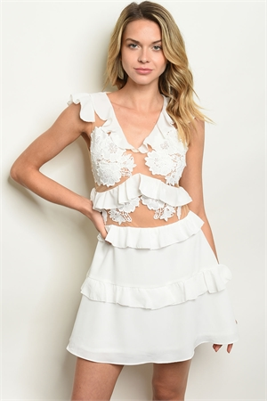 109-2-1-D9956 WHITE CREAM DRESS 3-2-1