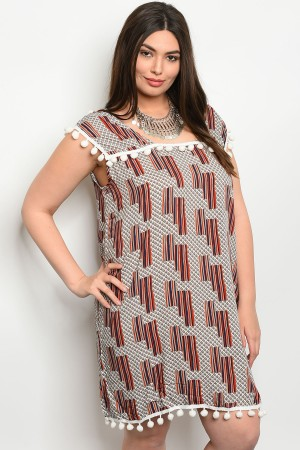 S13-1-3-D3980X IVORY RUST PLUS SIZE DRESS 2-2-2