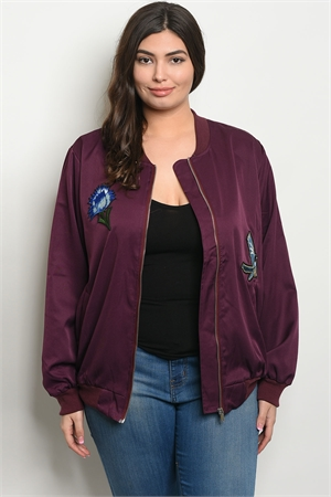 S18-4-3-J51268X PLUM PLUS SIZE JACKET 2-2-2