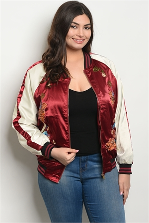 S17-4-5-J51289X WINE IVORY WITH FLOWER PLUS SIZE JACKET 2-2-2