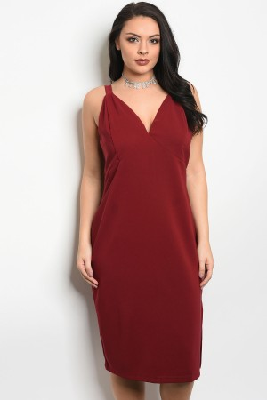 109-6-3-D24349X BURGUNDY PLUS SIZE DRESS 2-2-1