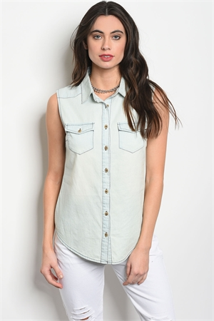 S3-8-4-T8077 LIGHT BLUE DENIM WASH TOP 2-2-2