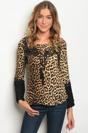 S2-9-1-T9173 TAUPE ANIMAL PRINT TOP 2-2-2