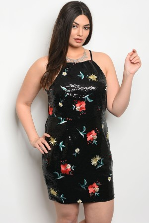 121-3-4-D0206X BLACK FLORAL WITH SEQUINS PLUS SIZE DRESS 1-1-2-2