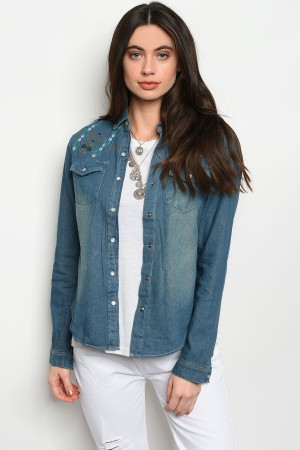 S13-8-3-T243 BLUE DENIM TOP 2-2-2