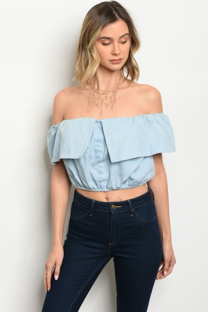 S4-3-1-T8674 LIGHT BLUE DENIM TOP 3-2-1