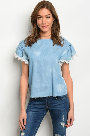 S2-6-2-T8807 LIGHT BLUE DENIM TOP 2-2-2
