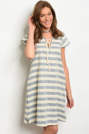 C79-A-3-D10908 CREAM BLUE STRIPES DRESS 2-2-2