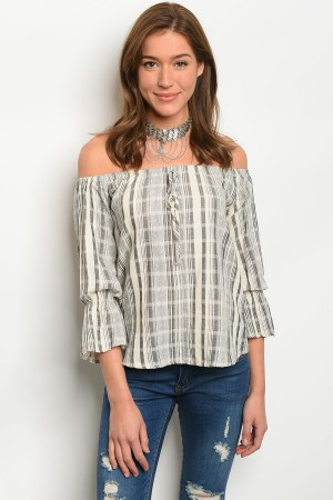 S10-15-3-T17004 BLACK CREAM STRIPES TOP 2-2-2