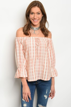 S9-11-5-T17004 PEACH CREAM STRIPES TOP 2-2-2