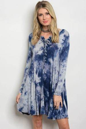 S11-18-3-D2266 NAVY TIE DYE DRESS 2-2-2