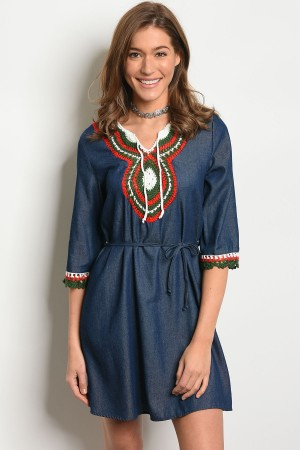 S3-6-2-D84732 BLUE DENIM OLIVE DRESS 2-2-2