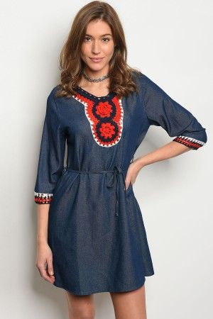 S12-2-2-D84731 BLUE DENIM RED DRESS 2-2-2