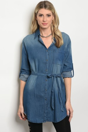 S12-4-2-T402 DARK DENIM TOP 3-2-1