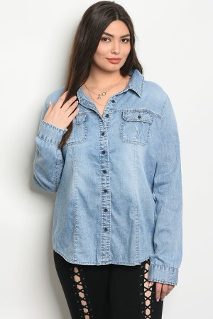 S2-7-1-T31248X MEDIUM BLUE DENIM PLUS SIZE TOP 2-2-2