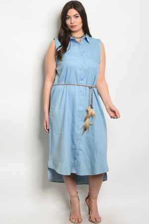 S8-12-2-D20332X DENIM PLUS SIZE DRESS 2-2-2