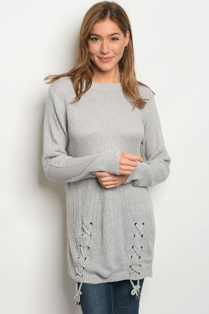 S12-2-3-S1711 GREY LIGHT SPRING KNIT SWEATER 3-3