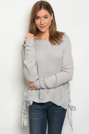 S2-6-3-S1703 GREY LIGHT SPRING KNIT SWEATER 3-3