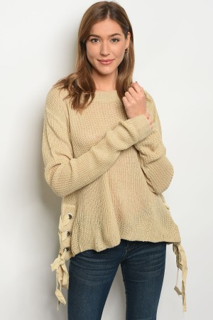 S2-7-3-S1703 BEIGE LIGHT SPRING KNIT SWEATER 3-3