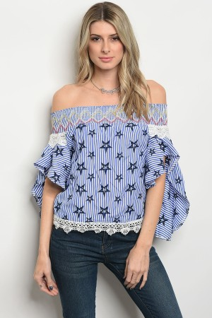S11-10-5-T09306 BLUE WHITE STRIPES TOP 2-2-2