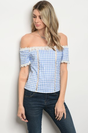 S14-10-1-T9155 BLUE WHITE CHECKERED TOP 1-3