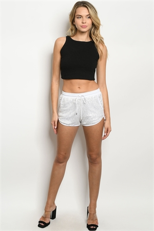 133-2-1-NA-S62053 WHITE SILVER WITH SEQUINS SHORTS 3-2-1