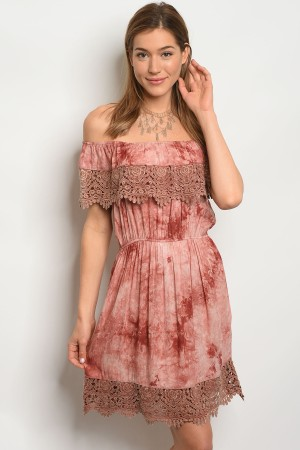 S3-4-4-D3441 RUST TIE DYE DRESS 2-2-2
