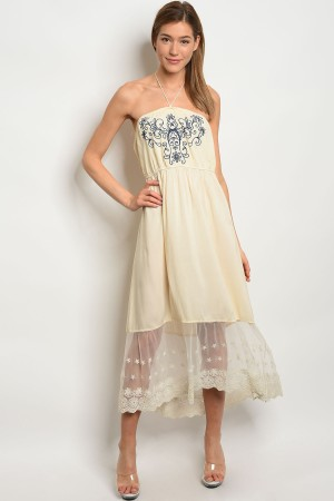 S14-6-4-D3558 CREAM NAVY DRESS 2-2