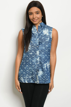 S15-3-3-T7353 DARK BLUE DENIM FLORAL TOP 2-2-2