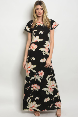 134-2-1-D309 BLACK FLOWER PRINT DRESS 1-2-2-1