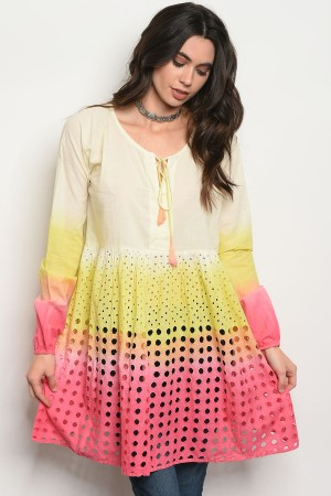 122-1-1-D48 PINK YELLOW TIE DYE TOP 2-2-2
