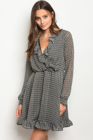 S9-16-2-D113201 BLACK CHECKERED DRESS 2-2-2