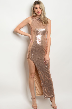 116-3-3-D8476 GOLD WITH SEQUINS DRESS 2-2-2