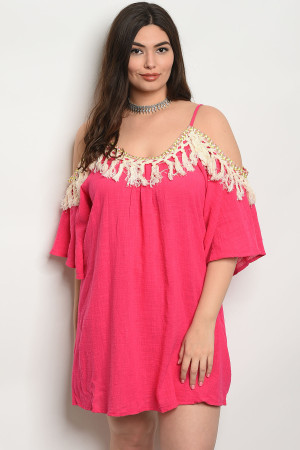 SA4-4-1-D574X FUCHSIA PLUS SIZE DRESS 2-2-2