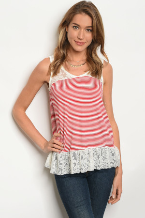 C57-B-3-T3050R990 IVORY RED STRIPES TOP 2-2-2