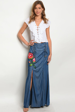 S11-11-2-S03077 NAVY WITH ROSES PRINT SKIRT 2-2-2
