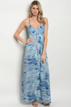 S12-2-1-D076 BLUE TIE DYE DRESS 2-2-1