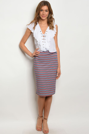 C55-B-7-S551 NAVY CORAL SKIRT 2-2-2