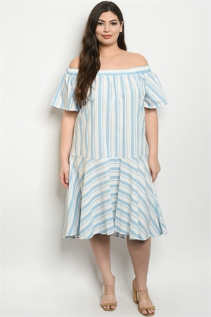 C17-A-6-D3157X WHITE AQUA STRIPES PLUS SIZE DRESS 2-2-2