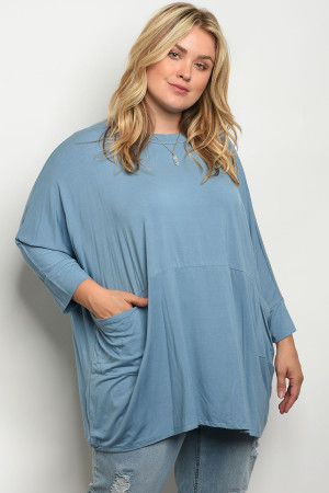 C9-B-4-T557X BLUE PLUS SIZE TOP 2-2-2